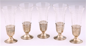 WATSON STERLING SILVER & GLASS TRUMPET VASES - LOT OF 5