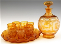 AMBER CUT-TO-CLEAR GLASS DECANTER SET - LOT OF 11