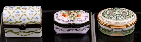 HALCYON DAYS AND LIMOGES TRINKET BOXES - LOT OF 3