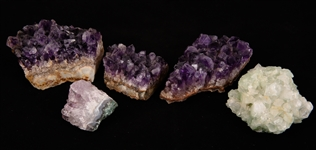 NATURAL AMETHYST AND GREEN FLUORITE CRYSTAL CLUSTERS