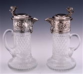 CUT GLASS WINE PITCHERS W/ SILVER PLATED LIDS
