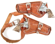 ROY ROGERS SIX SHOOTER CAP GUNS & LEATHER HOLSTER