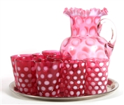 CRANBERRY OPALESCENT GLASS PUNCH SET - LOT OF 10