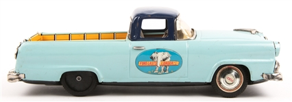 JAPANESE BANDAI FORD BLUE TIN TOY FRICTION TRUCK
