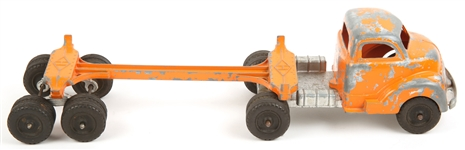 HUBLEY USA TOY ORANGE LOG TRUCK & TRAILER