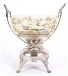 19TH C. GLASS PUNCH BOWL WITH SILVER PLATE STAND