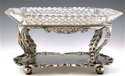 G.F. HAMILTON SILVER PLATE AND CUT GLASS SERVING TRAY