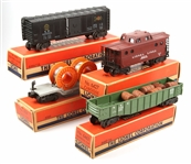 LIONEL TOY TRAIN SETS - GONDOLA CABOOSE CABLE BOX CAR