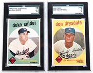 1959 TOPPS #20 & 387 LOS ANGELES DODGERS GRADED CARDS