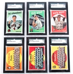 1959 TOPPS GRADED BASEBALL CARDS - LOT OF 6