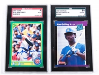 1989 DONRUSS, 1990 SCORE GRADED BASEBALL CARDS LOT OF 2