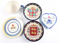HAND PAINTED FRENCH CERAMIC TABLEWARE - LOT OF 5